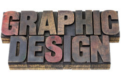 Graphic design in grunge wood type. Graphic design in vintage grunge letterpress wood type stained by inks Stock Photo