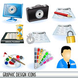 Graphic design icons. Collection of graphic design icons, grouped separately and isolated on white background Stock Photography