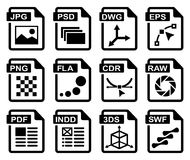 Graphic design icons. File type icons: graphic design set. All white areas are cut away from icons and black areas merged Stock Photography