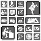 Graphic design icons. Collection of different squared graphic design icons Stock Photo
