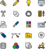 Graphic design icons. Colorful set of icons related to graphic design on white background Stock Images