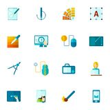 Graphic Design Icons Flat Royalty Free Stock Image