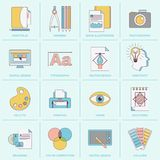 Graphic design icons flat line Stock Images
