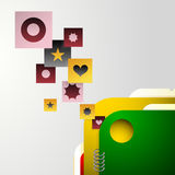 Graphic design with icons. From open folders Stock Photography