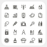 Graphic Design Icons Set Stock Photos