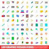 100 graphic design icons set, cartoon style. 100 graphic design icons set in cartoon style for any design vector illustration Royalty Free Stock Photography