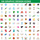 100 graphic design icons set, cartoon style. 100 graphic design icons set in cartoon style for any design vector illustration Stock Image