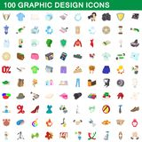 100 graphic design icons set, cartoon style. 100 graphic design icons set in cartoon style for any design illustration royalty free illustration