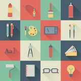 Graphic design icons. Set of flat graphic design icons Stock Photography