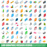 100 graphic design icons set, isometric 3d style. 100 graphic design icons set in isometric 3d style for any design vector illustration Royalty Free Stock Images