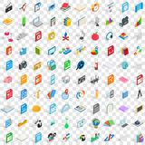 100 graphic design icons set, isometric 3d style. 100 graphic design icons set in isometric 3d style for any design vector illustration Royalty Free Stock Image