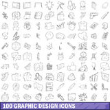 100 graphic design icons set, outline style. 100 graphic design icons set in outline style for any design vector illustration Vector Illustration