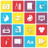 Graphic design icons. Set with palette sketching digital designer isolated vector illustration Stock Images
