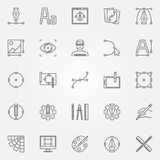 Graphic design icons set. Vector graphics symbols. Graphic design icons set. Vector design and graphics concept symbols or logo elements in thin line style Stock Photo
