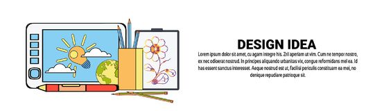Graphic Design Idea Development Concept Horizontal Banner With Copy Space Royalty Free Stock Photography