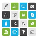 Graphic Design industry icons. Vector icon set stock illustration