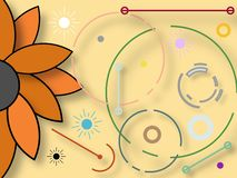 Graphic design inspired by natural elements and organic shapes. Graphic design illustration depicting a sunflower and colorful organic shapes royalty free illustration