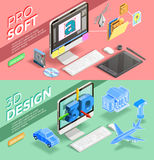 Graphic Design Isometric Banners royalty free illustration