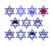 Graphic design for labeling goods - blue and white and color -. Set of characters comprising hexagram symbols and the silhouette of the hills and the sun or the Stock Image