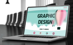 Graphic Design on Laptop in Conference Hall. 3D. Modern Conference Room with Laptop Showing Landing Page with Text Graphic Design. Closeup View. Toned Image Royalty Free Stock Photo