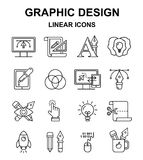 Graphic design linear icons. Royalty Free Stock Images
