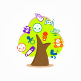 Graphic design logo tree baby toy  Royalty Free Stock Photo