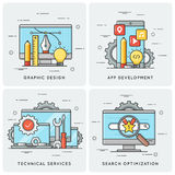 Graphic design. Mobile app development. Technical services. SEO. Search optimization. Vector flat line concepts, icons, illlustrations royalty free illustration