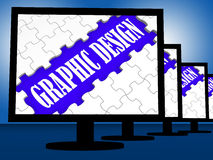 Graphic Design On Monitors Shows Digital Drawing Stock Images