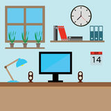 Graphic design profession workdesk with monitor books lamp pc  illustration. Interior of Working place Stock Image