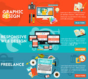 Graphic Design , Responsive Webdesign and Freeance Concept Stock Photo