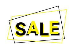 Graphic design of sale sign in black and yellow colors. stock images