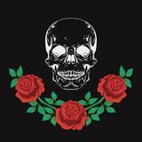 Graphic design with skull and roses vector illustration for t-shirt, fashion clothes  Stock Photos