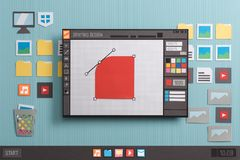 Graphic design software. Graphic design and  illustration software interface: shape editing using bezier curves, anchor points and handles, collage and paper cut Royalty Free Stock Photos