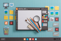 Graphic design software. User interface with real tools, creativity and communication concept, collage and paper cut composition Royalty Free Stock Photography