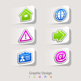 Graphic design  stickers set of business icons Stock Photo