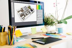 Graphic design studio. Interior design stock image