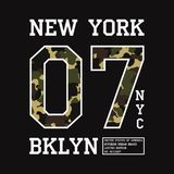 Graphic design for t-shirt with camouflage texture. New York tee shirt print with slogan. Brooklyn apparel typography. Vector. Graphic design for t-shirt with stock illustration