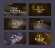 Graphic design of tags for denim clothing Stock Images