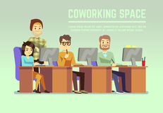 Graphic design team working in agency office with laptops vector illustration Stock Images