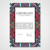 Graphic design template document with hand drawn ornament Royalty Free Stock Photography