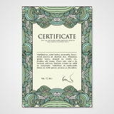 Graphic design template document with hand drawn ornament Stock Image