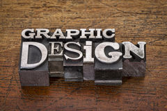 Graphic design text in metal type Stock Images
