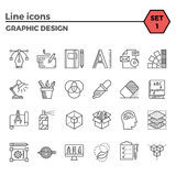 Graphic design thin line icons set Royalty Free Stock Image