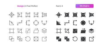 Graphic Design UI Pixel Perfect Well-crafted Vector Thin Line And Solid Icons 30 3x Grid for Web Graphics and Apps. Simple Minimal Pictogram Part 1-4 Stock Images