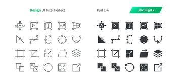 Graphic Design UI Pixel Perfect Well-crafted Vector Thin Line And Solid Icons 30 1x Grid for Web Graphics and Apps. Simple Minimal Pictogram Part 1-4 Stock Photo
