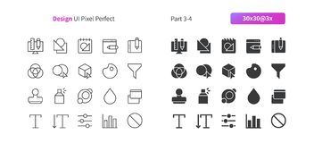 Graphic Design UI Pixel Perfect Well-crafted Vector Thin Line And Solid Icons 30 3x Grid for Web Graphics and Apps. Simple Minimal Pictogram Part 3-4 Royalty Free Stock Photos
