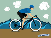 Graphic design vector of biker athlete cycling on the mountain Stock Photos