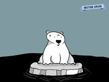 Graphic design vector of cute polar bear on ice at pole. Global warming crisis graphic design concept vector illustration