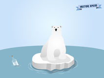 Graphic design vector of cute polar bear on ice at pole. Global warming crisis graphic design concept stock illustration