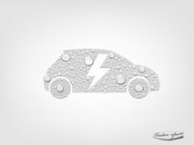 Graphic design vector of electric vehicle car with transparent water drop Stock Images
